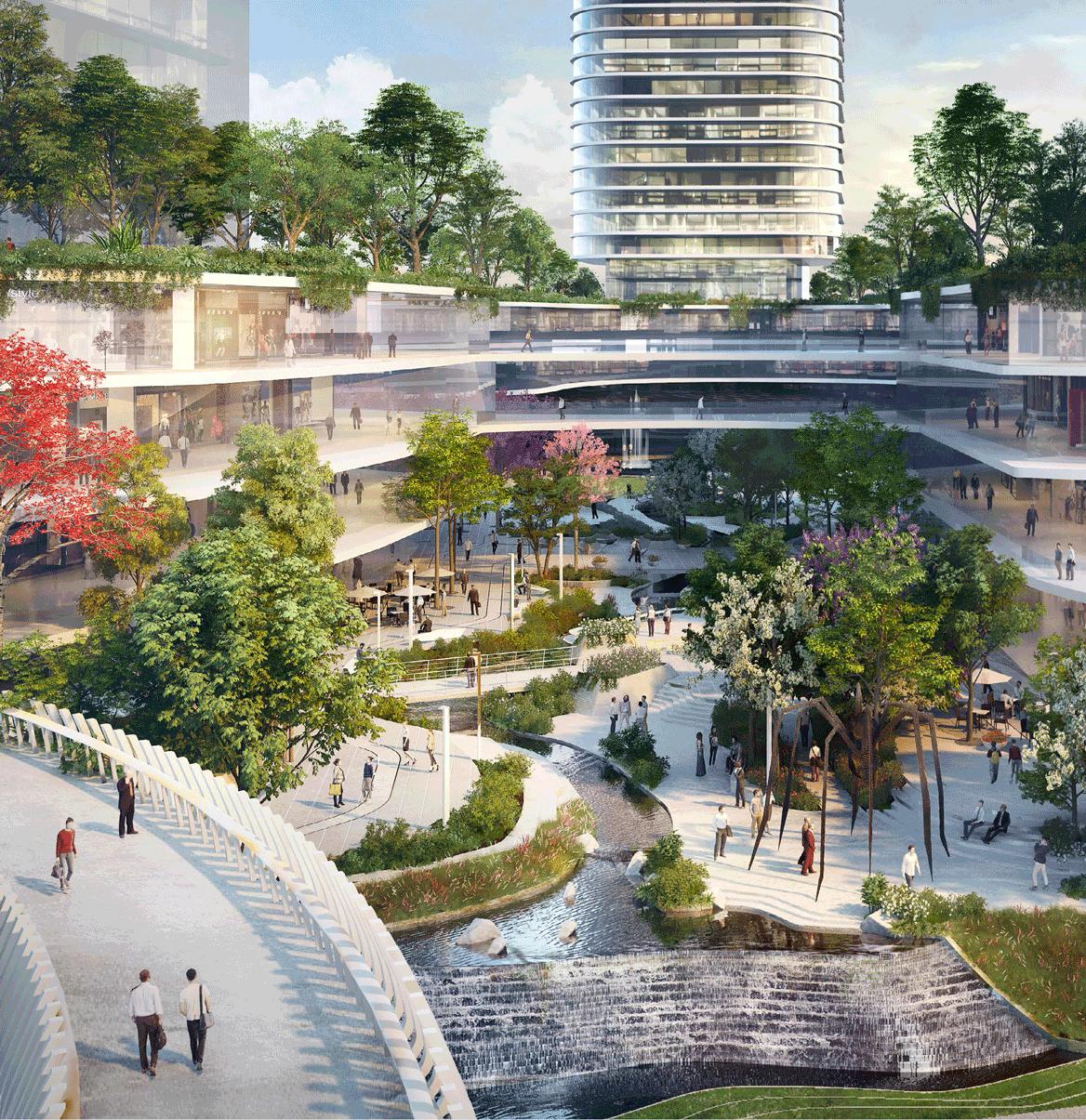 """88 tầng của tòa tháp sẽ bao gồm khu nhà ở, căn hộ, khách sạn và đài quan sát công cộng. Một """"khu rừng trên cao"""" với kết cấu uốn lượn cắt ngang tòa tháp theo phương thẳng đứng giữa lưng chừng trời sẽ mang cảnh quan xanh mát lên giữa không trung."""